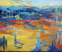 Acrylic painting, Three Mile Harbor, by Susan Goetz Zwirn