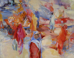 original painting by Susan Goetz Zwirn, Passing Through Rajasthan, India 56